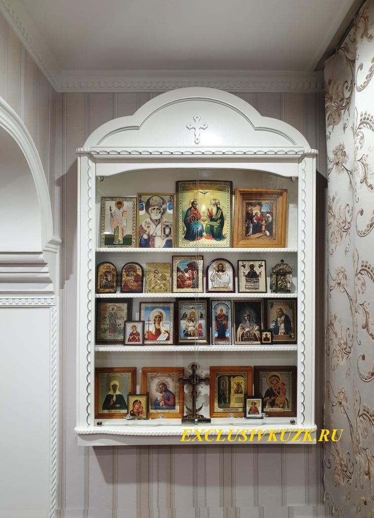 домашний иконостас прямой со стеклянными дверками арт. 2131215